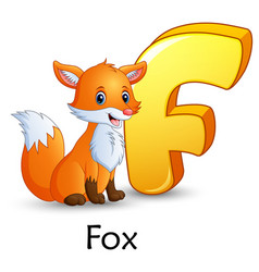 Letter f is for fox cartoon alphabet vector