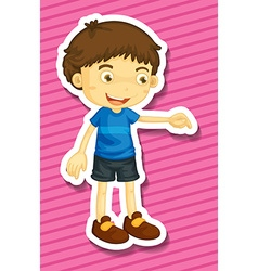 Little boy pointing down the floor vector image