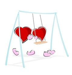 Love hearts enjoying swing ride vector