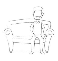 man sitting on armchair vector image