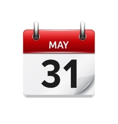 May 31 flat daily calendar icon date vector