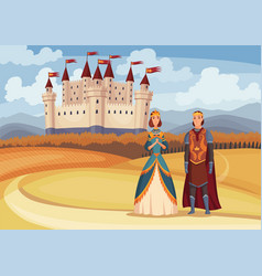 medieval king and queen on fairytale vector image