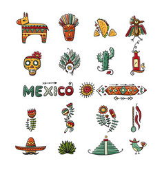 mexican icons set for your design vector image