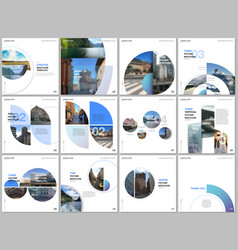 minimal brochure templates with blue color circles vector image