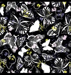 modern elegant white butterfly silhouettes on dark vector image