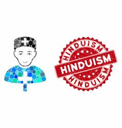 Mosaic church doctor with grunge hinduism seal vector