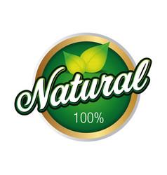 natural product badge green hundred percent vector image
