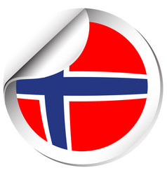 norway flag in sticker design vector image