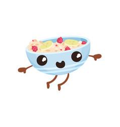 Oatmeal porridge with berries cartoon character vector