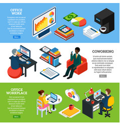 office horizontal banners set vector image