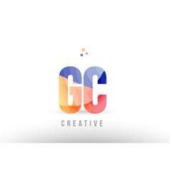 Orange blue alphabet letter gc g c logo icon vector
