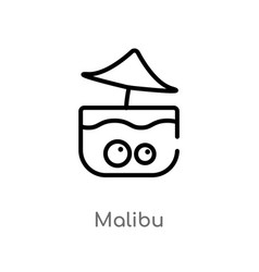 Outline malibu icon isolated black simple line vector