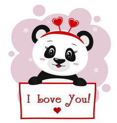Panda with a red rim of hearts holding a plate in vector