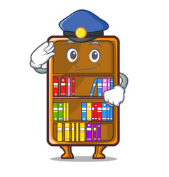 Police mascot bookcase beside the study desk vector