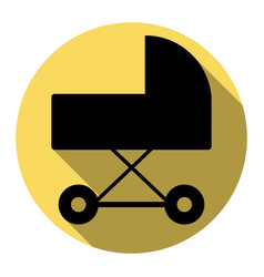 pram sign flat black icon vector image