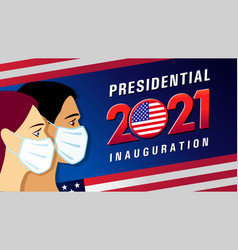 Presidential inauguration usa with people in mask vector