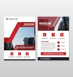 Red annual report leaflet brochure flyer templates vector