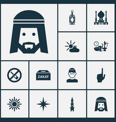 Religion icons set with god forbidden zakat and vector