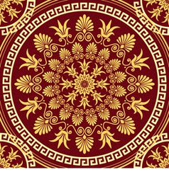 seamless gold Greek ornament and floral pattern vector image