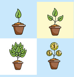 set crowdfunding strategy business support vector image