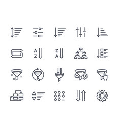 set of sorting and filtering related linear icons vector image