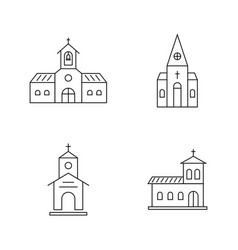 Set of thin line black church vector