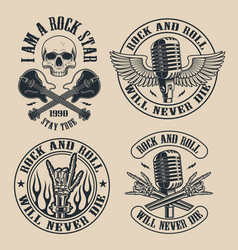 set vintage rock and roll emblems on dark vector image