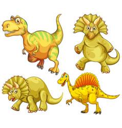 Set yellow dinosaur cartoon character vector