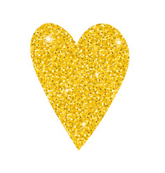 shiny gold glittering heart for valentines day vector image