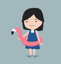 small girll with flamingo float swimming pool ring vector image