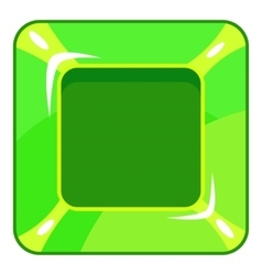 Square green button icon cartoon style vector image