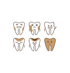 Stomatology and dental line icons set sick teeth vector