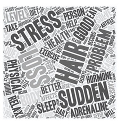 Sudden hair loss is stress is cause text vector