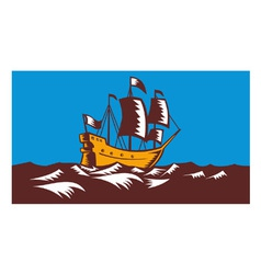 Tall Sailing Ship Retro Woodcut vector image