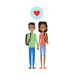 Teenager couple in love full length avatar on vector
