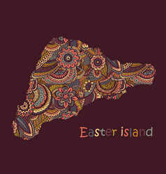 textured map easter island hand drawn vector image
