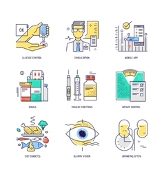 Thin line icons set of diabetes life Flat vector