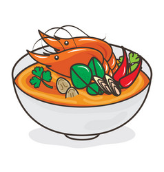 Tom yum goong thai food on white background vector