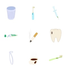 Toothache icons set cartoon style vector