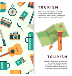 tourism banner design with flat map and vector image