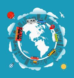 Travel around earth go travel concept vector