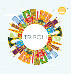 tripoli city skyline with color buildings blue vector image