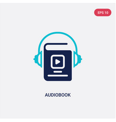 Two color audiobook icon from education concept vector