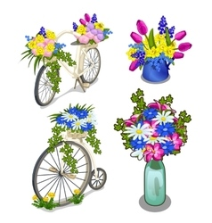 Two vintage bikes and bright bouquets of flowers vector