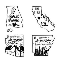 Us states line art logo designs set camping vector