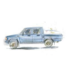Watercolor retro car vector