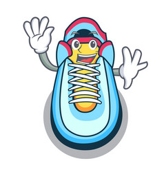 Waving cartoon pair of casual sneakers vector