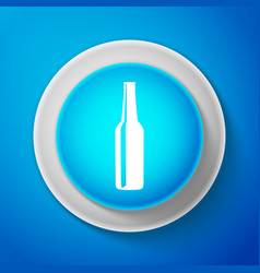white beer bottle icon isolated on blue background vector image