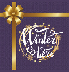 winter is here calligraphic inscription in frame vector image