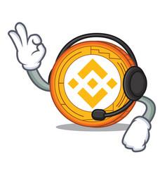 With headphone binance coin mascot catoon vector